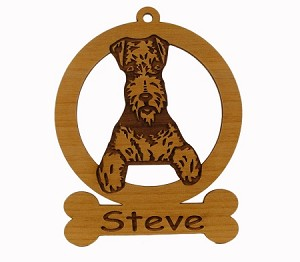 081065 Airedale Sitting Ornament Personalized with Your Dog's Name