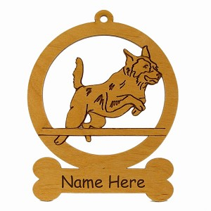 081296 Australian Cattle Dog Jumping Ornament Personalized with Your Dog's Name