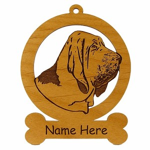 081805 Bloodhound Head Ornament Personalized with Your Dog's Name