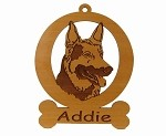 083223 German Shepherd Head Ornament Personalized with Your Dog's Name