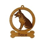 083220 German Shepherd Sitting Ornament Personalized with Your Dog's Name
