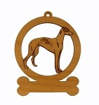 083319 Greyhound Standing Ornament Personalized with Your Dog's Name