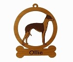 083406  Italian Greyhound Standing Ornament Personalized with Your Dog's Name