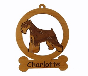 083555 Mini Schnauzer Cropped Ears Ornament Personalized with Your Dog's Name
