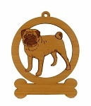 083759 Pug Standing #2 Ornament Personalized with Your Dog's Name