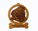 083760 Pug Head Ornament Personalized with Your Dog's Name