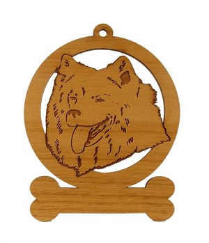 083854 Samoyed Head Ornament Personalized with Your Dog's Name