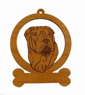 083919 Shar Pei Head Ornament Personalized with Your Dog's Name