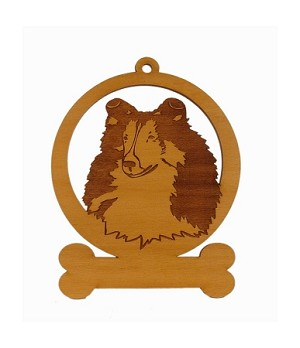 083936 Sheltie  Head Ornament Personalized with Your Dog's Name
