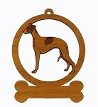 084225  Whippet Standing Ornament Personalized with Your Dog's Name