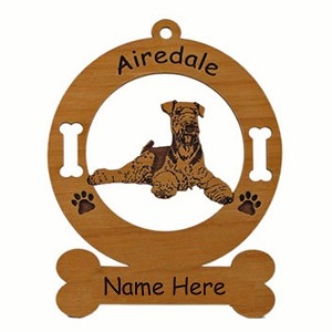 1089 Airedale Down Ornament Personalized With Your Dog's Name