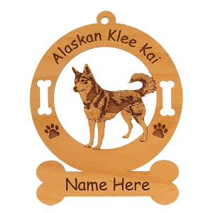 1178 Alaskan Klee Kai Standing #2 Ornament Personalized with Your Dog's Name