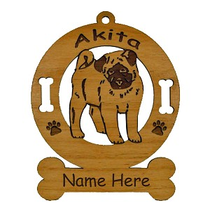 1180  Akita Pup Ornament Personalized with Your Dog's Name