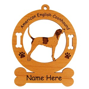1206 American English Coonhound Standing #2 Ornament Personalized with Your Dog's Name