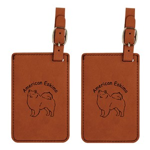 American Eskimo Standing Luggage Tag 2 Pack L1218