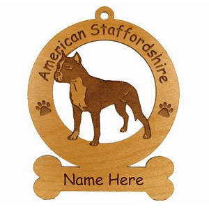 1257 American Staffordshire Standing Ornament Personalized with Your Dog's Name
