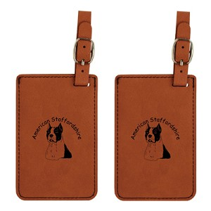 American Stafforshire Head Luggage Tag 2 Pack L1258