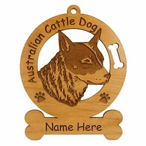 1335 Australian Cattle Dog Head Ornament Personalized with Your Dog's Name