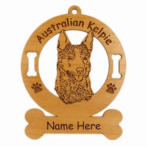 1376 Australian Kelpie Head Ornament Personalized with Your Dog's Name