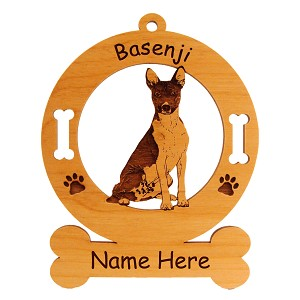 1450 Basenji Sitting Ornament Personalized with Your Dog's Name