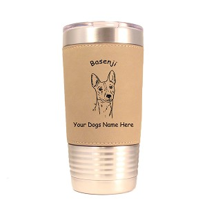 1463 Basenji Head 20oz Polar Camel Tumbler with Lid Personalized with Your Dog's Name