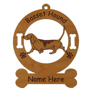 1485 Basset Hound Gaiting Ornament Personalized with Your Dog's Name