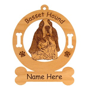1491 Basset Hound Head #2 Ornament Personalized with Your Dog's Name
