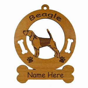 1506 Beagle Standing Ornament Personalized with Your Dog's Name