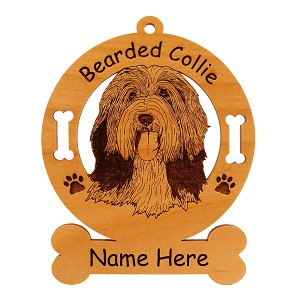 1551 Bearded Collie Head #2 Ornament Personalized with Your Dog's Name