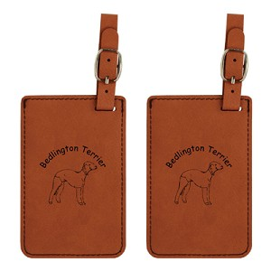 Bedlington Terrier Head Luggage Tag 2 Pack L1584