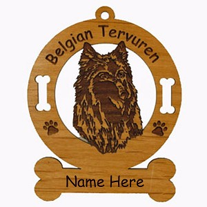 1662 Belgian Tervuren Head Ornament Personalized with Your Dog's Name