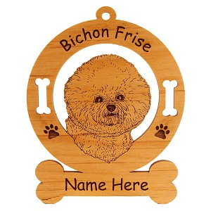 1741 Bichon Frise Head Ornament Personalized with Your Dog's Name