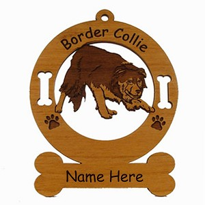 1846 Border Collie Herding 2 Ornament Personalized with Your Dog's Name