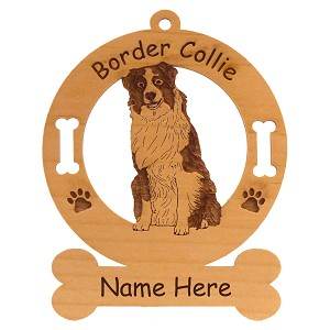 1847 Border Collie Sitting #2 Ornament Personalized with Your Dog's Name