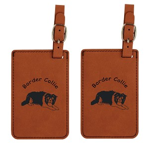 Border Collie Crouching Luggage Tag 2 Pack L1870