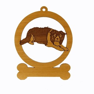 081870 Border Collie Crouching #1  Ornament Personalized with Your Dog's Name