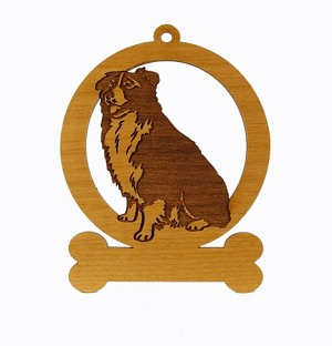 081883 Border Collie Sitting Ornament Personalized with Your Dog's Name