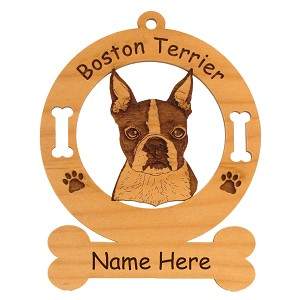 1920 Boston Terrier Head Ornament Personalized with Your Dog's Name