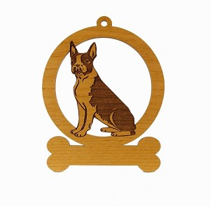 081922 Boston Terrier Sitting Ornament Personalized with Your Dog's Name