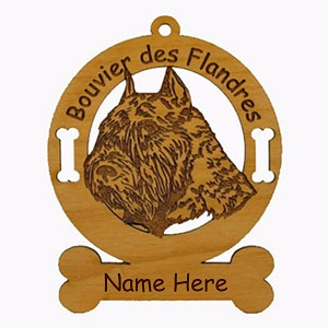 1932 Bouvier des Flandres Head Ornament Personalized with Your Dog's Name