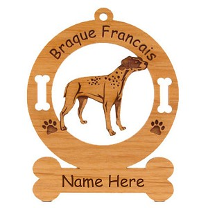 1973 Braque Francais Standing Ornament Personalized with Your Dog's Name
