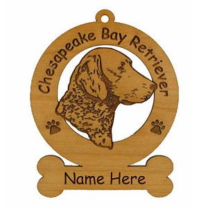 2095 Chesapeake Bay Retriever Head Ornament Personalized with Your Dog's Name