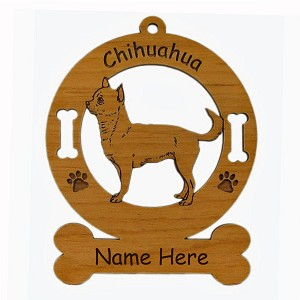 2111 Chihuahua Smooth Standing 2 Ornament Personalized with Your Dog's Name
