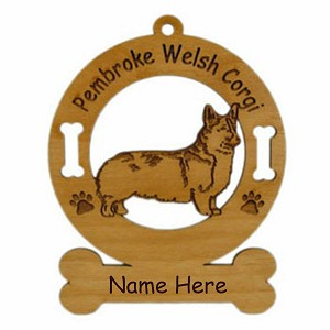 2198 Corgi Pembroke Standing Ornament Personalized with Your Dog's Name