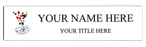 2 x 8 Dice Design Name Plate Personalized with Up to 2 Lines of Text