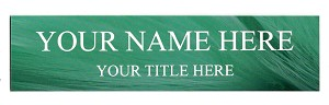 2 x 8 Green Feathers Design Name Plate Personalized with Up to 2 Lines of Text