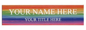 2 x 8 Rainbow Watercolors Design Name Plate Personalized with Up to 2 Lines of Text