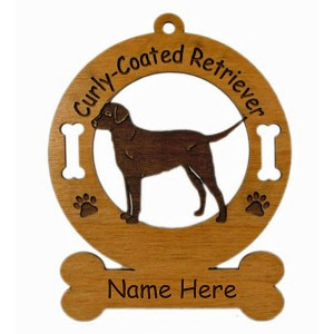 3025 Curly Coated Retriever Standing Ornament Personalized with Your Dog's Name