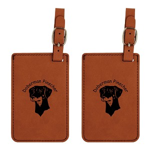 Doberman Uncropped Ears Luggage Tag 2 Pack L3080