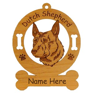 3127 Dutch Shepherd Head Ornament Personalized with Your Dog's Name